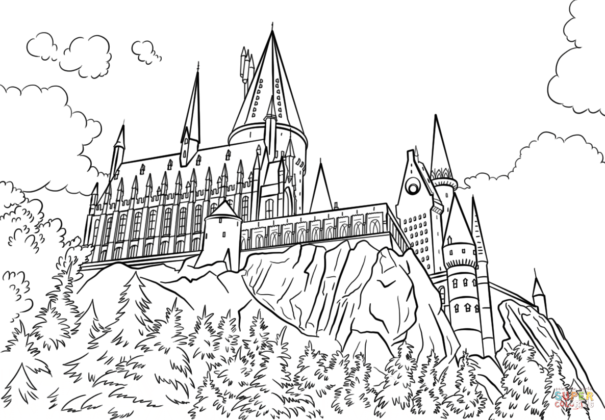 Hogwarts Castle Coloring Page From Harry Potter Category Select From 27278 Printab Harry Potter Coloring Pages Harry Potter Coloring Book Castle Coloring Page