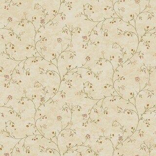 Brea, Wildflower Honey Trail, 33' L X 20.5 W, Wallpaper Roll (Honey), Beige