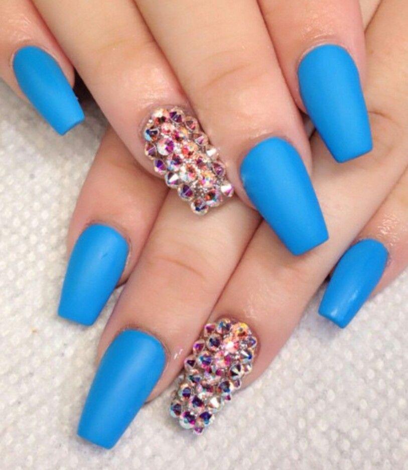 Blue matte rhinestone nails | Nails | Pinterest | Rhinestone nails ...