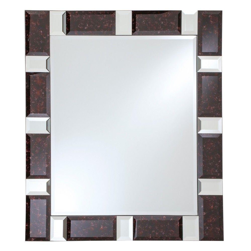 Rectangular Beveled Frameless Wall Mirror With Black Granite And