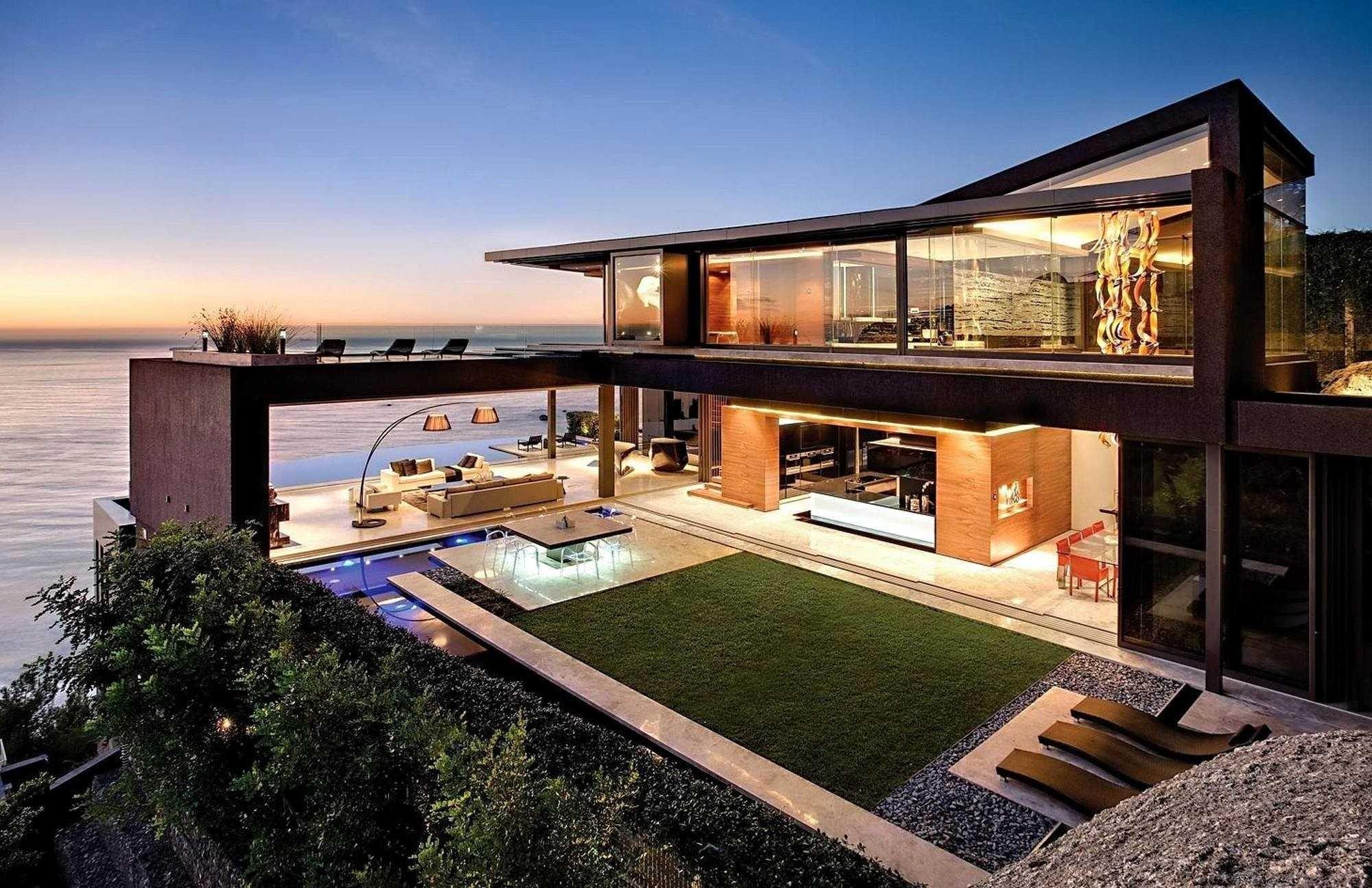 Elegant Beautiful Modern Waterfront Homes Beach House Plans