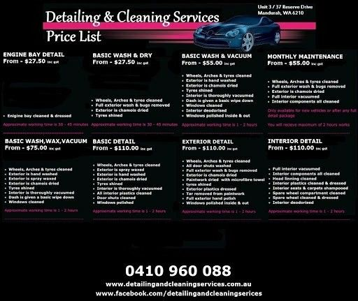 Pin By Floyd Gilmon On Mobile Auto Detailing Car Wash Prices
