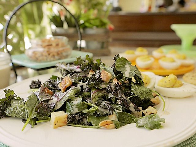 Kale, Roasted Celery Root, Deviled Eggs and Spiced Almond Salad Recipe : Damaris Phillips : Food Network