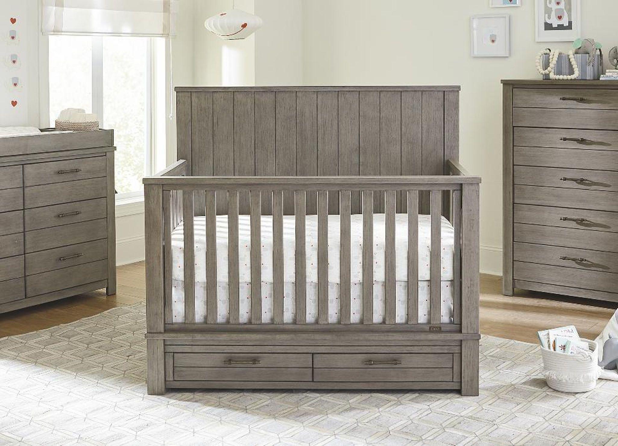 Bassett Dreams Everest 4 In 1 Convertible Storage Crib Smokey Grey Cribs Convertible Crib Baby Nursery Furniture Sets [ 1479 x 2050 Pixel ]
