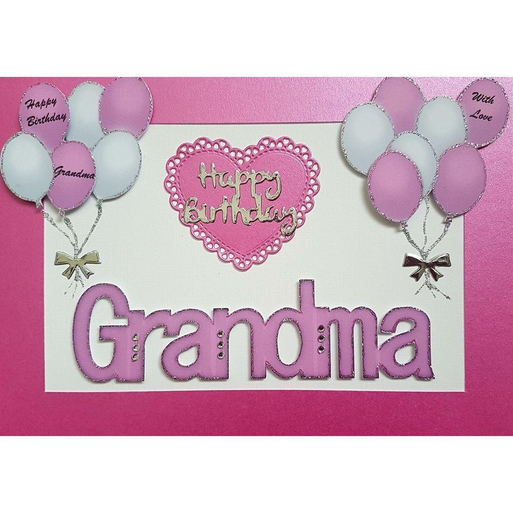 Handmade in UK Luxury Grandma Happy Birthday Card