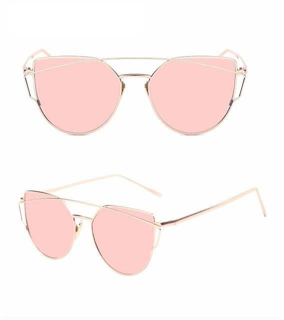 Newest Cat Eye Women Brand Designer Twin-Beams Sun Glasses Mirror Sunglasses