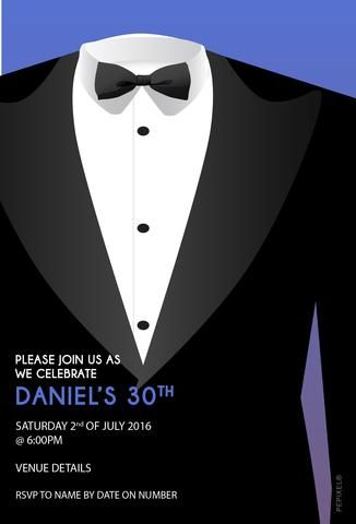 30th Birthday Party Invitations Tuxedo Invitation Blue Tux