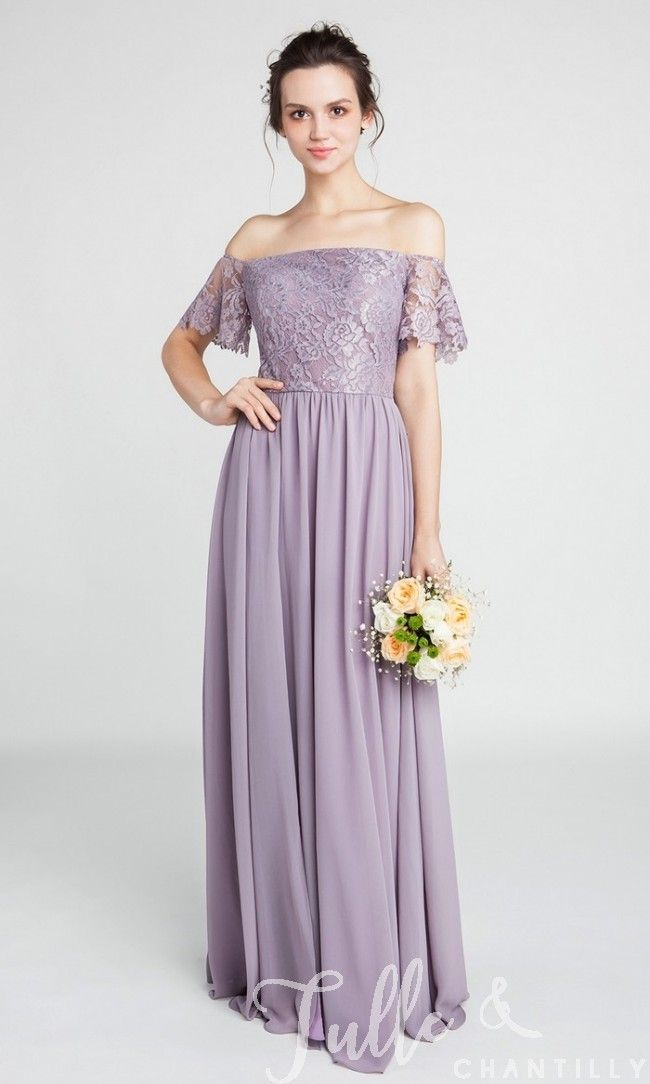 Gorgeous Lace Off The Shoulder Bridesmaid Gown With Chiffon Skirt Tbqp402 Short Bridesmaid Dresses Tulle Bridesmaid Dress Bridesmaid Dresses Long Chiffon