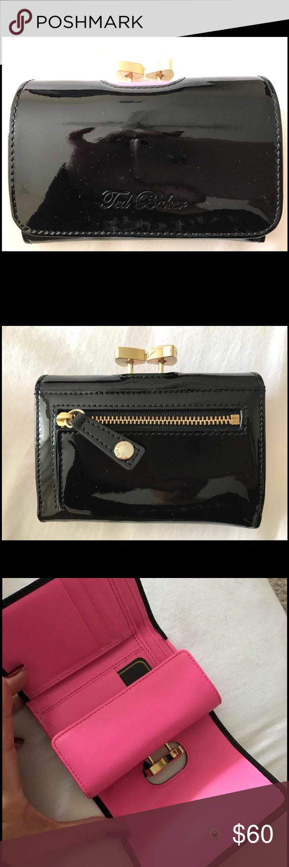 NWT! Ted Baker Wallet Gorgeous patent and pink leather. Lots of pockets and a coin purse! Inside has Ted Bakers trademark French Bulldog lining. Comes with gift boxes reatils for $120 Ted Baker Bags Wallets