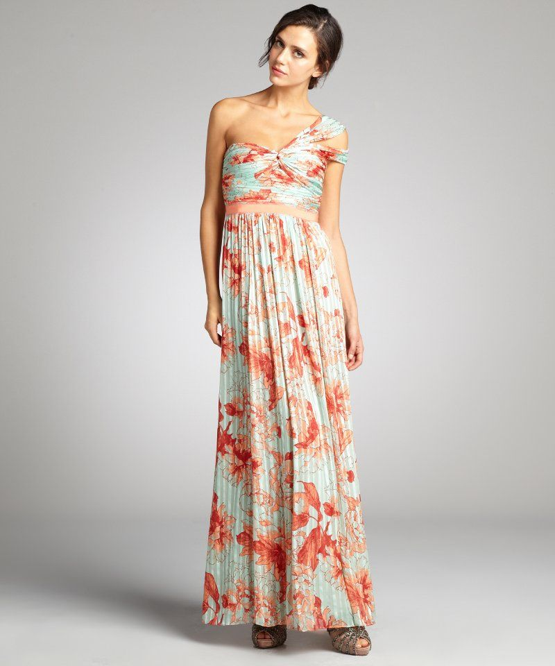 f003d1226c1f BCBGMAXAZRIA women's turquoise and coral hibiscus printed silk 'Inga' one  shoulder maxi dress