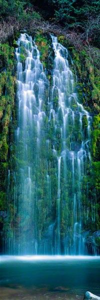 Sierra Cascades, Mossbrae Falls, California-- Difficult to get to, but well worth the walk on the railroad tracks--just be sure to jump off when you hear the trains coming!  (Dunsmur)