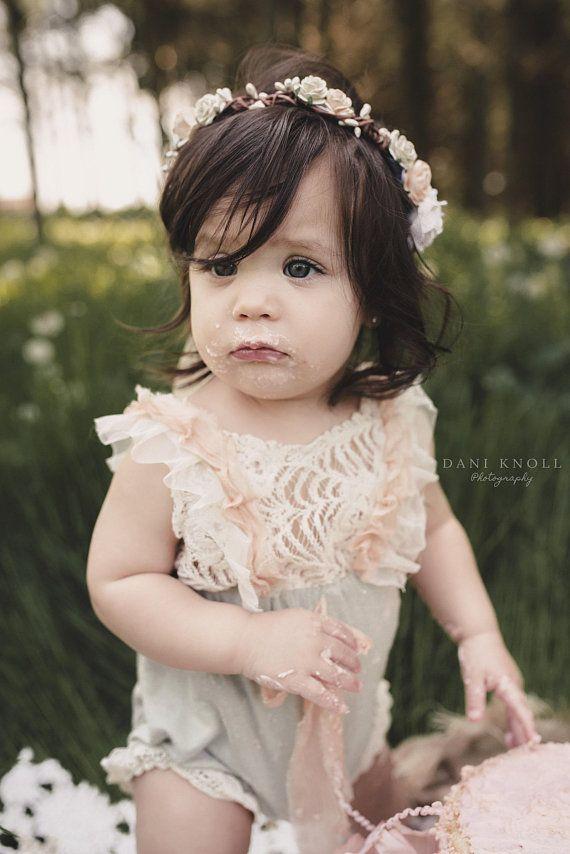 Baby Girl First Birthday Flower Crown Smash Cake Headpiece Girls Flower  Headband Toddler Hair Crown 579ac4cae46