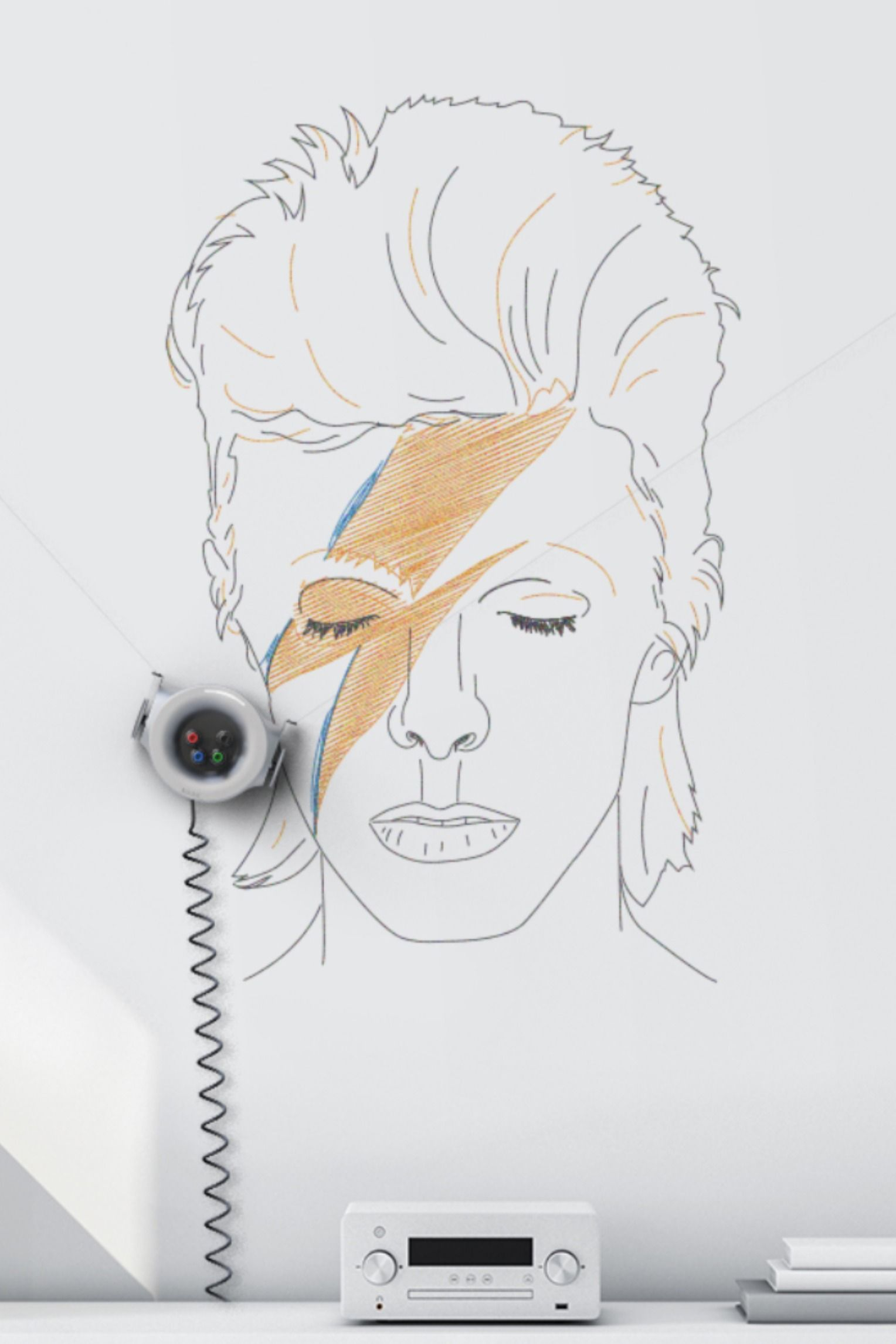 Scribit Prints David Bowie Drawing On Your Wall