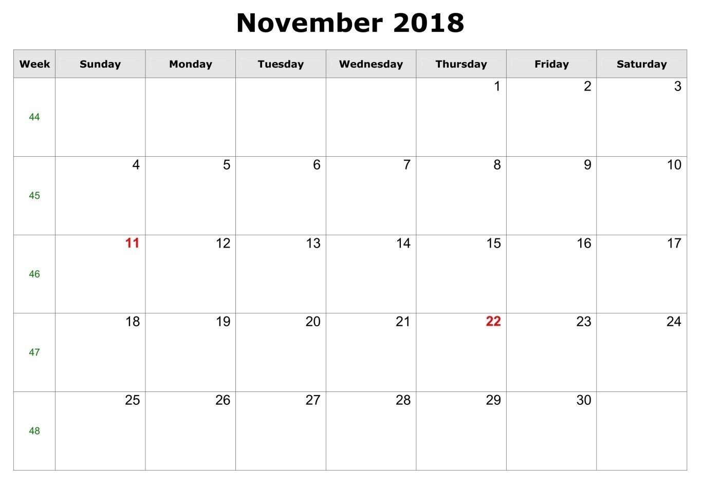 November 2018 Pdf Calendar Template 2018 Calendars Calendar