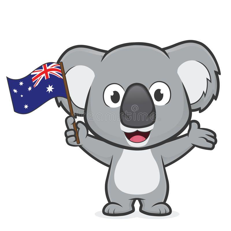 Koala Holding Australian Flag Clipart Picture Of A Koala Cartoon Character Hold Affiliate Australian Flag Ko Koala Australian Flags Australia Animals