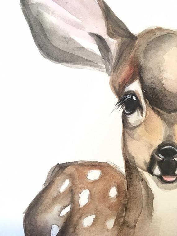 Spring Fawn, baby deer, nursery decor watercolor print