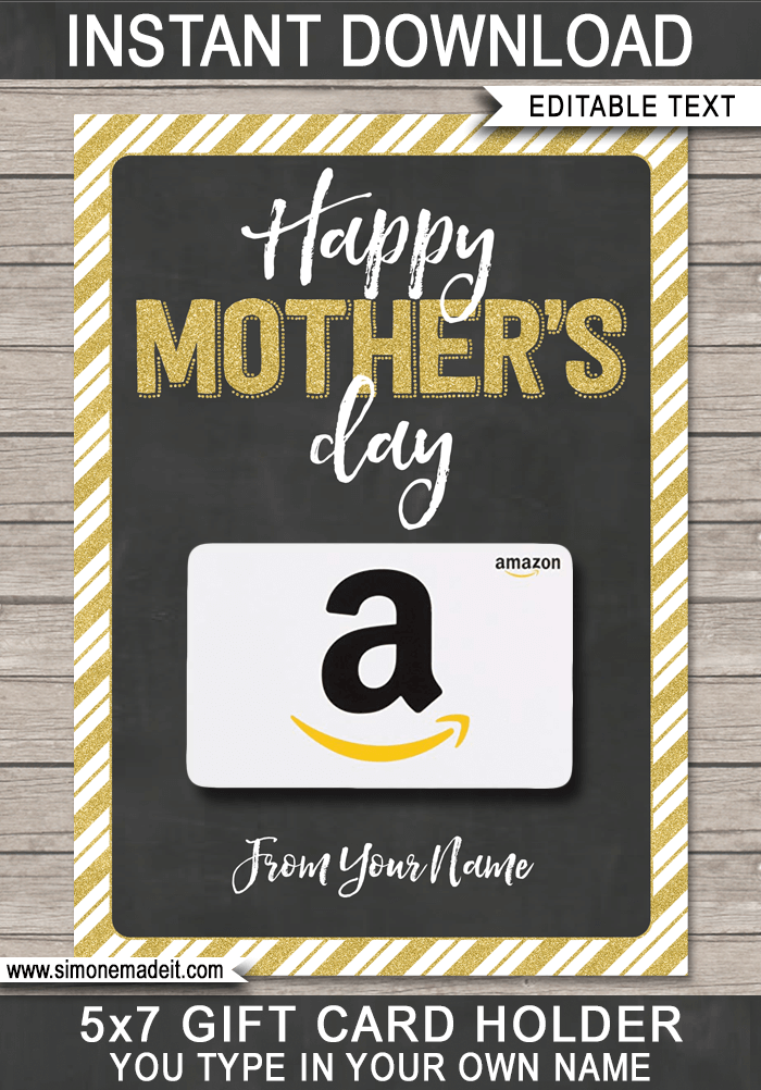 photo regarding Printable Walmart Gift Card named Moms Working day Reward Card Holder Template gold Moms Working day