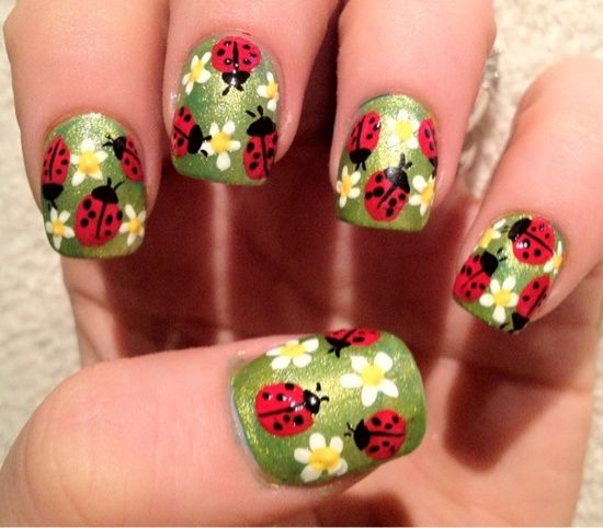 Ladybugs. I love this, but I think I'd use a cream polish for the base rather than a shimmer one