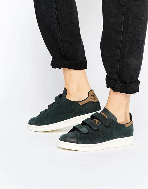 the latest 281fc 7255f Adidas   adidas Originals Black Nubuck Leather Stan Smith Sneakers With  Strap