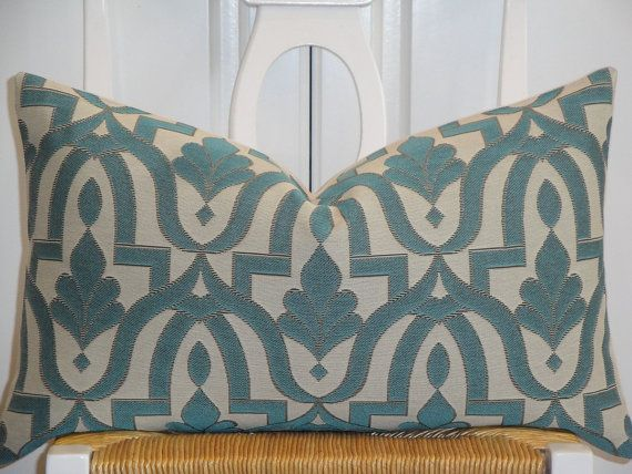 Decorative Pillow Cover - 12 x 20 -  Accent Pillow - Throw Pillow - Blue - Brown