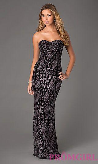 75f9f3825978 Long Strapless Black Glitter Dress by Jump at PromGirl.com