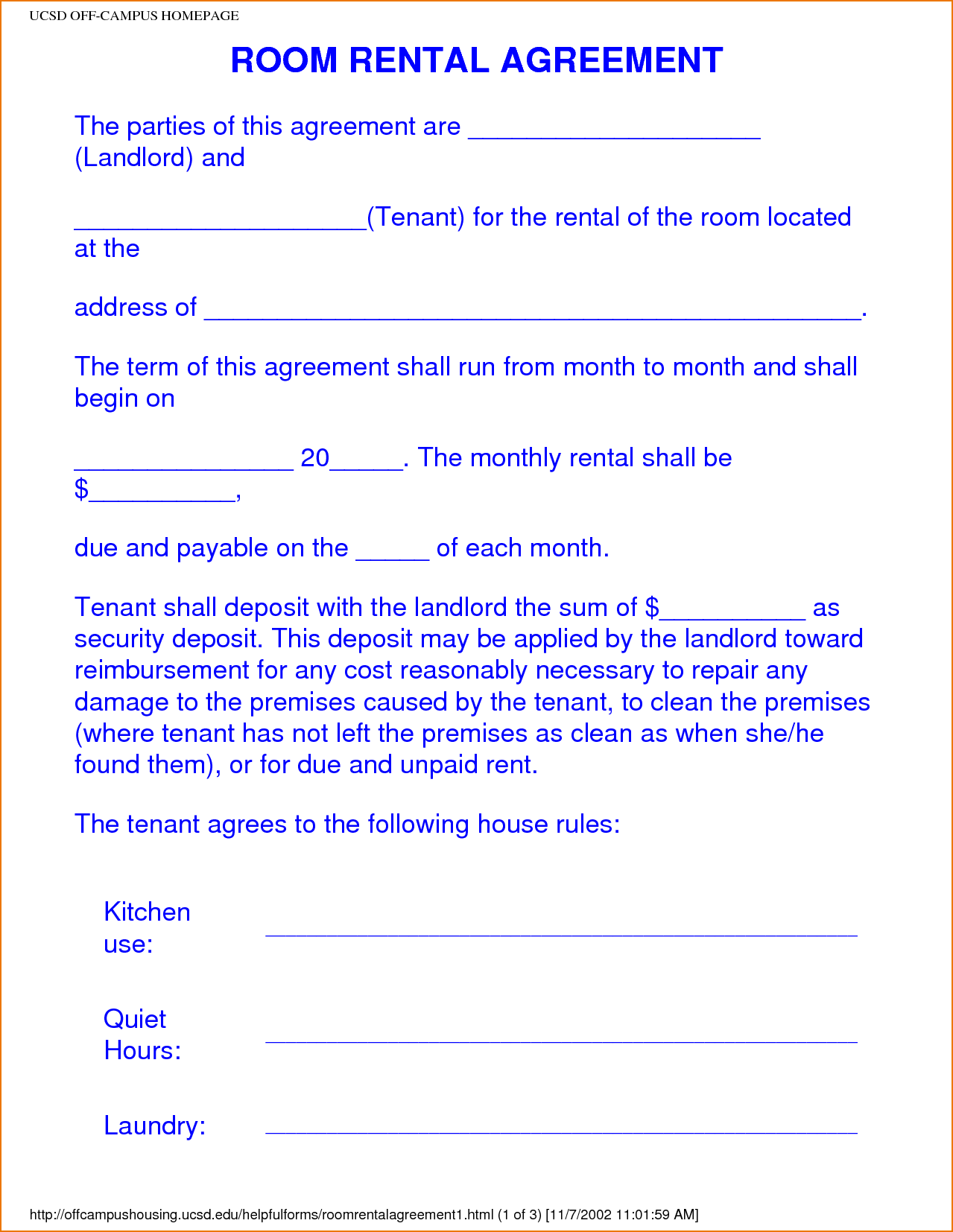 Image Result For College Roommate Agreement Template Room Rental