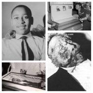 14 year old Emmett Till a collage of photos. He was beat beyond recognition in