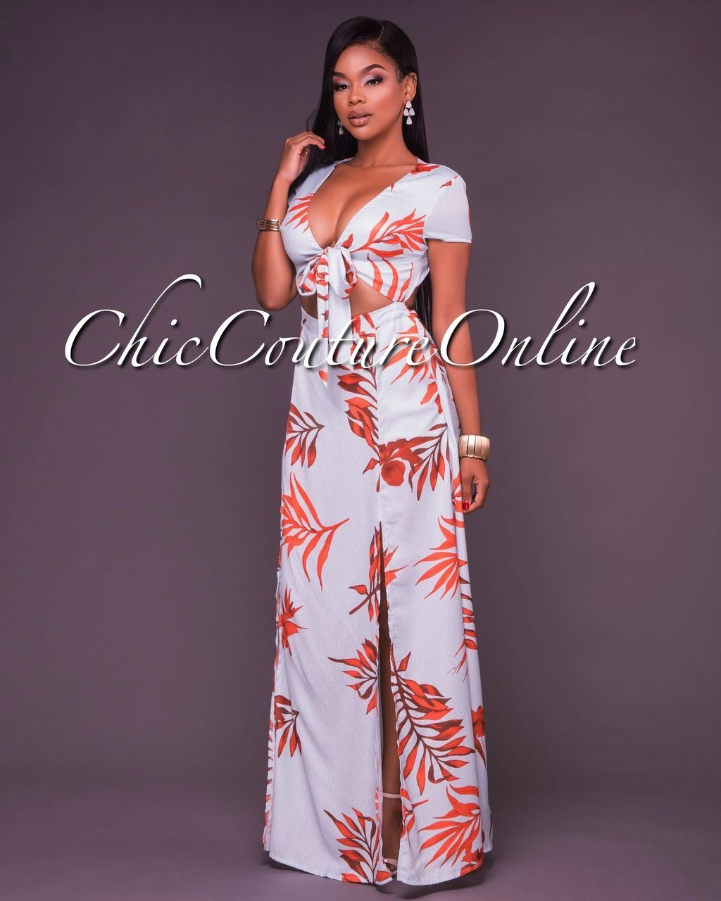 Taya Mint and Orange Floral Tie Front Open Back Dress