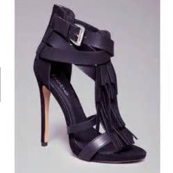 Bebe fringe sandals Worn prob 3 times for a few hours each. 6 inch heel. I can post more pics upon request. No box. Slight wear on heel from storage. bebe Shoes Heels