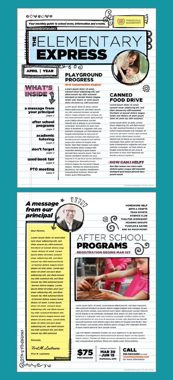 Elementary school newsletter design template by
