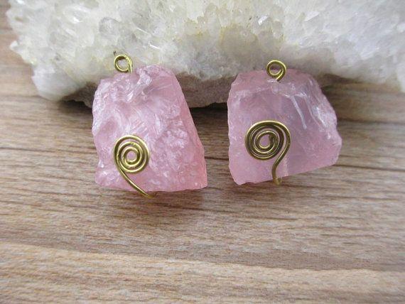 Irregular natural raw rose quartz pendant gold wire wrapped pink quartz pendant - Mamaw
