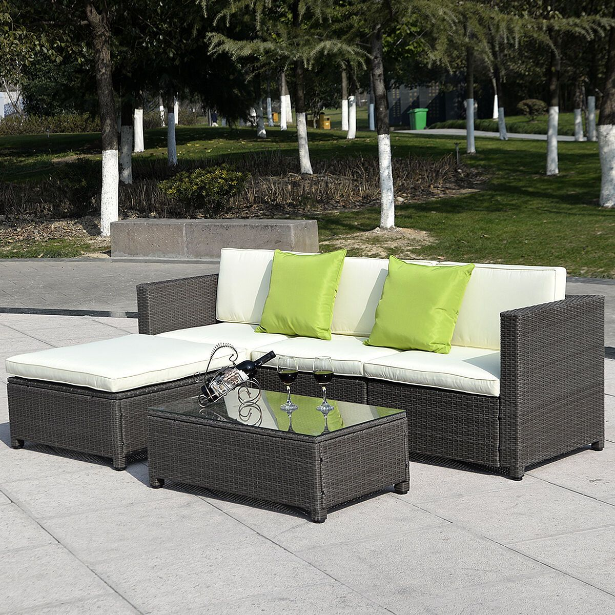 Cool Costway Outdoor Patio 5Pc Furniture Sectional Pe Wicker Pabps2019 Chair Design Images Pabps2019Com