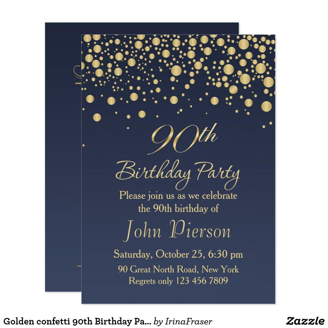 Golden confetti 90th Birthday Party Invitation Zazzle