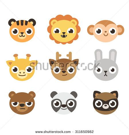 Set Of 9 Cute Cartoon Zoo Animal Heads With Different Expressions Adorable Faces Can Be Used As Icons Or Cute Cartoon Animals Cartoon Zoo Animals Cute Cartoon