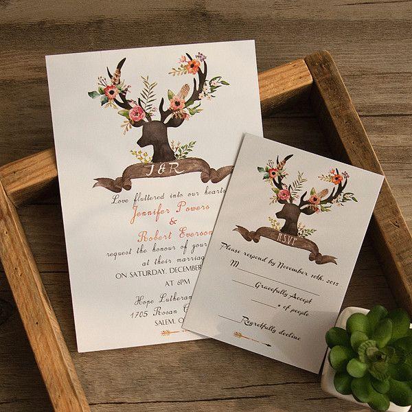 Bohemian Wedding Invitations: Bohemian Deer Flower Wedding Invitations EWI414 As Low As
