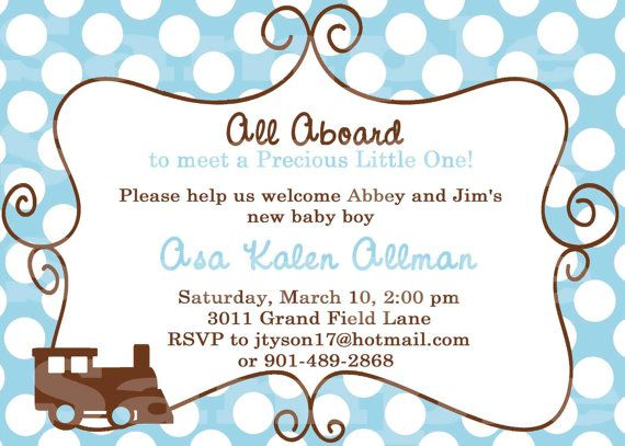 Train Themed Baby Shower Invitation
