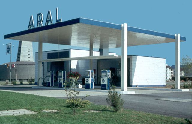 Vintage 60 S Styled Gas Station In Germany Built In The 60 S And Designed By An Unknown Designer Architect Modern Architecture Architecture Gas Station