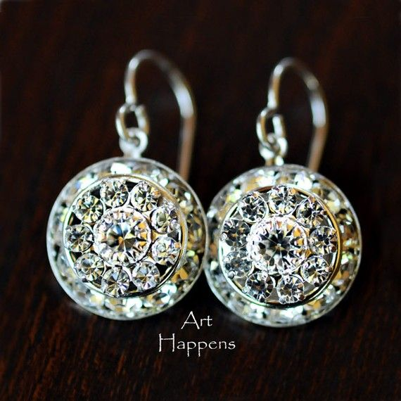 Special occasion clear Swarovski crystal earrings by ArtHappens, $28.00