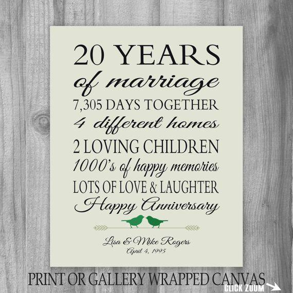 20th Anniversary Gift 20 Year Anniversary By Printsbychristine 20th Anniversary Gifts 20 Year Anniversary Gifts 20th Anniversary Ideas