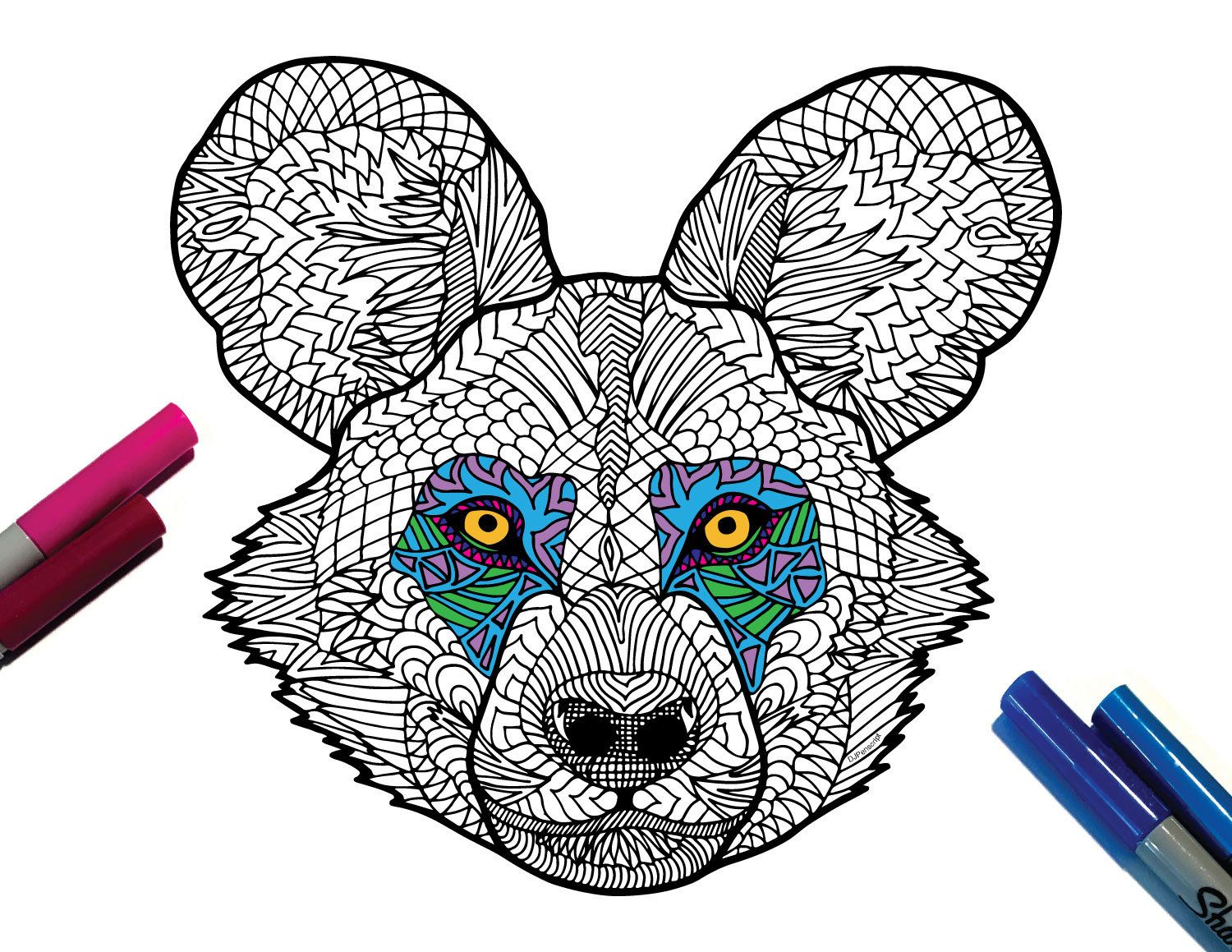 African Wild Dog PDF Zentangle Coloring Page in 2019