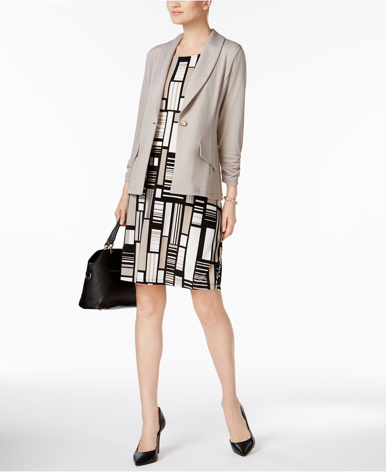Kasper singlebutton jacket printed coldshoulder dress