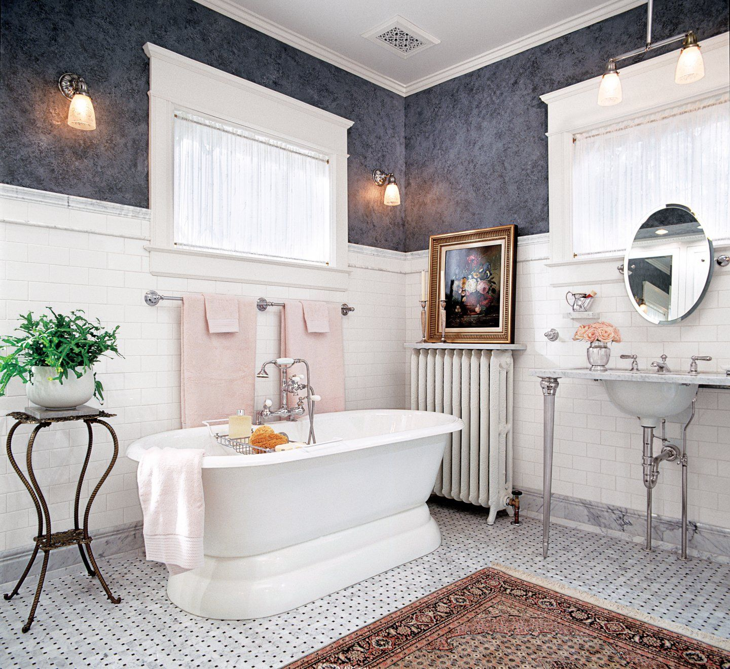 Romantic Decor Paired With Carrara Marble Tiles And Blue Gray Venetian Plaster Walls Are Param Victorian Style Bathroom Victorian Bathroom New Bathroom Designs
