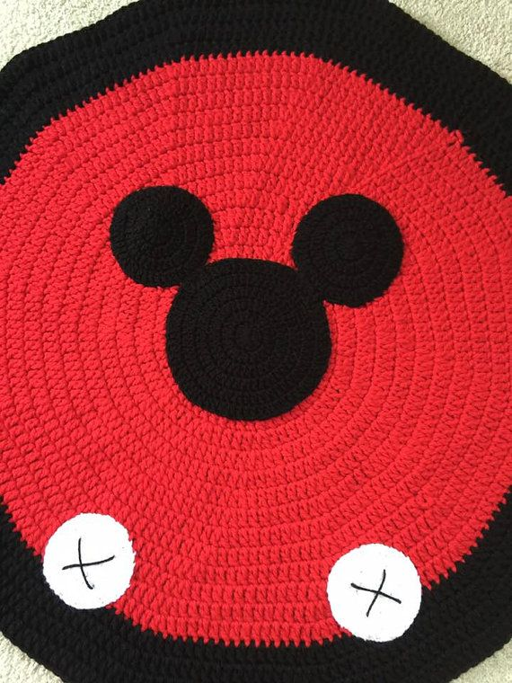 Crochet Mickey Mouse Rug, nursery rug, pet bed