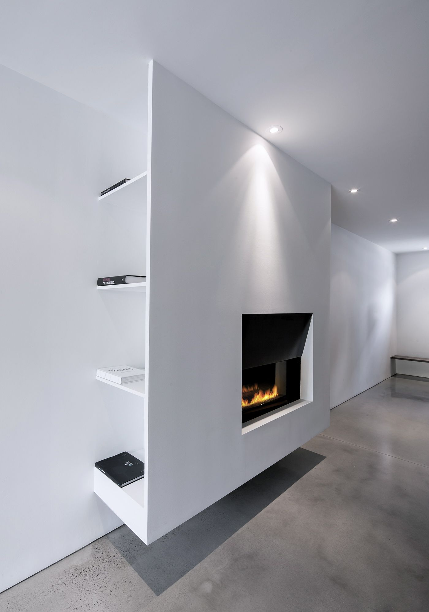 Spot etagere derri re meuble et fa ade suspendue Meuble tv cheminee