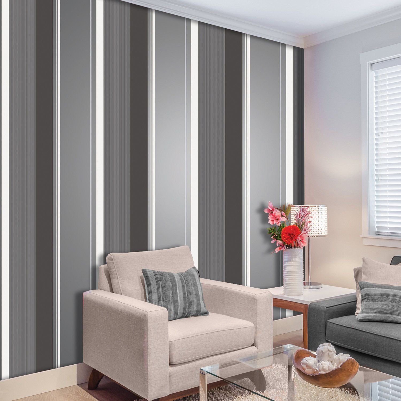 Crown Millie Stripe Charcoal Wallpaper Grey wallpaper