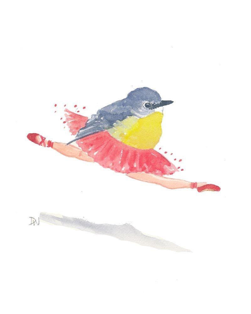 Bird Watercolor Ballet Painting