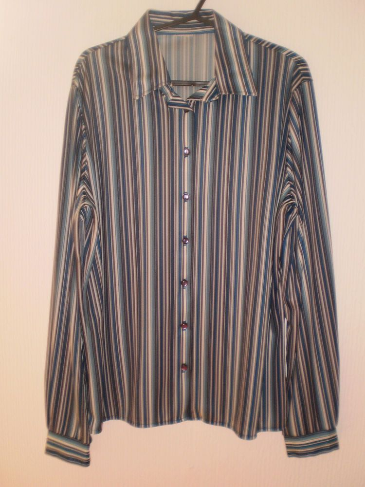 0bb6f76fcf6d Next Blue Multi Colours Striped Pattern Long Sleeved Blouse Shirt Top size  14 Summer Clothes