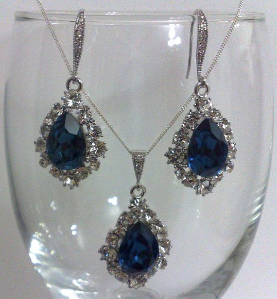 Something Blue Bridal Jewelry Navy Montana by YJCouture on Etsy