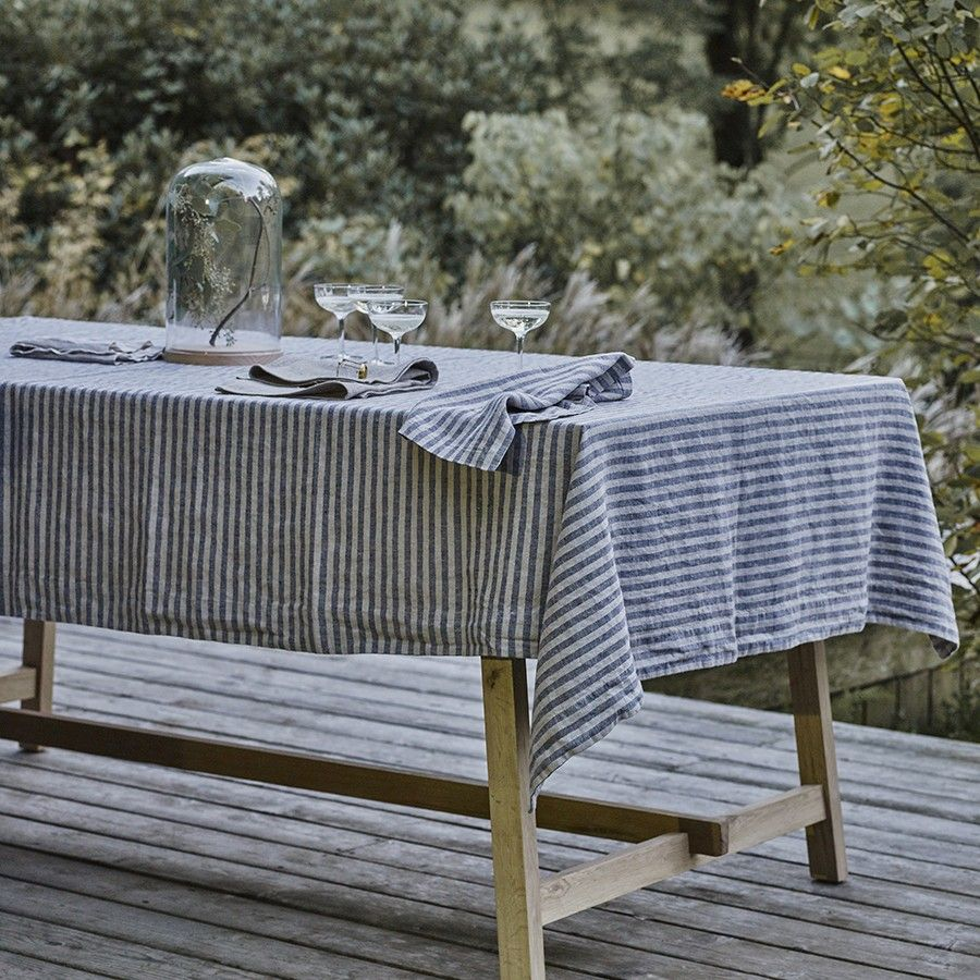 Chambray Blue Striped Linen Tablecloth