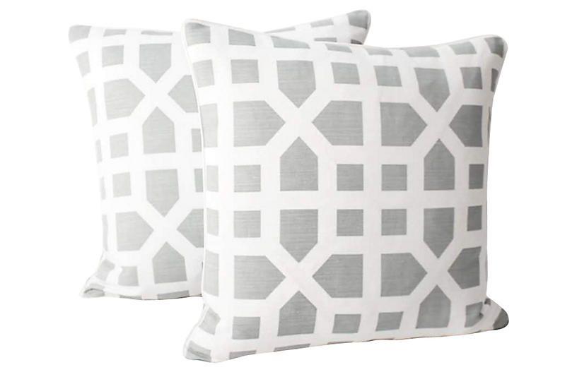 Dusk Avignon Trellis Linen Pillows